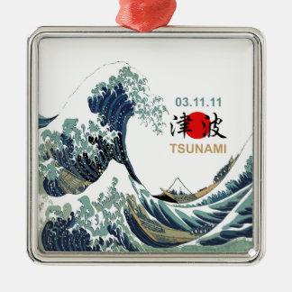 Japan Tsunami 2011 Silver-Colored Square Decoration