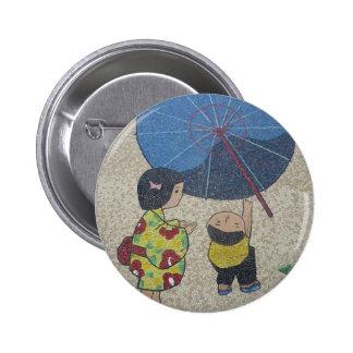 japan umbrella 6 cm round badge