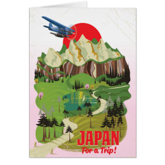 Japan vintage style travel poster card
