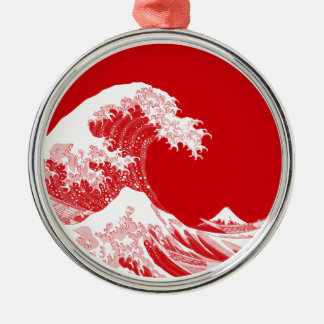 Japan Wave Silver-Colored Round Decoration