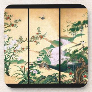 Japan Wisteria Flower Waterfall Dove Birds Coaster