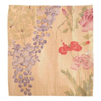 Japan Wisteria Roses Flowers Floral Scroll Bandana