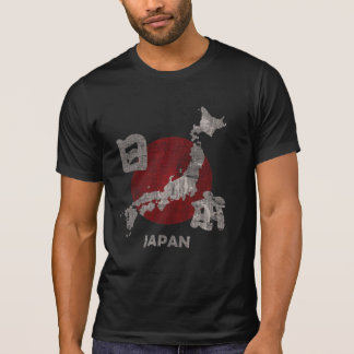 Japan with map and flag distressed t-shirt