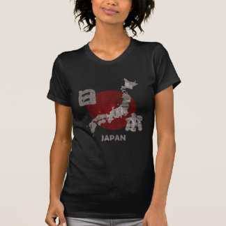 Japan with map and flag distressed tshirts