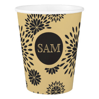 Japan. Yellow Floral Flowers. Paper Cup