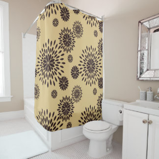 Japan. Yellow Floral Flowers. Shower Curtain