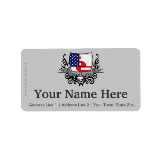 Japanese-American Shield Flag Address Label