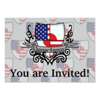 Japanese-American Shield Flag 5x7 Paper Invitation Card