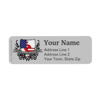 Japanese-American Shield Flag Return Address Label