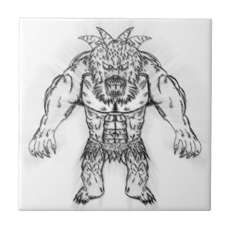 Japanese Ancient Beast Tattoo Art Small Square Tile