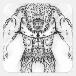 Japanese Ancient Beast Tattoo Art Square Sticker