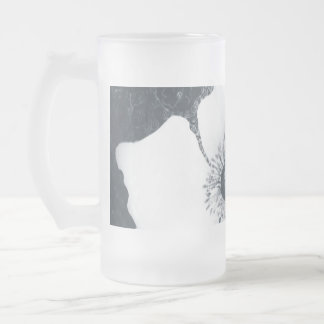 Japanese Anemone. Frosted Glass Beer Mug
