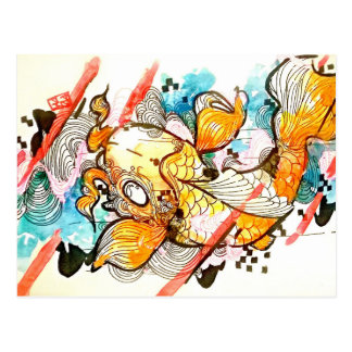 Japanese animal koi fish pond art postcard