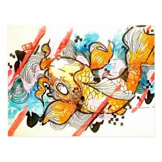 Japanese animal koi fish pond art postcard