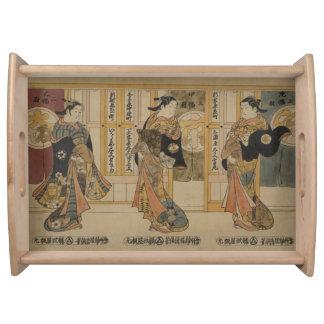 Japanese art 3 beauties serving tray