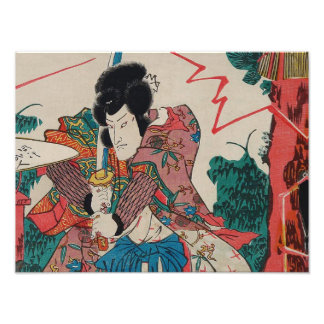 Japanese Art - A Samurai With Swor In Kabuki Show Art Photo