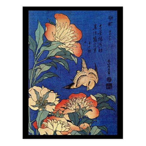 Japanese Art Birds and Flowers Postcard