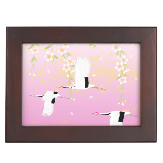 Japanese Art Cranes & Flowers Pink Black White box Keepsake Boxes