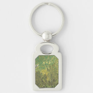 Japanese Art custom key chain Silver-Colored Rectangle Key Ring