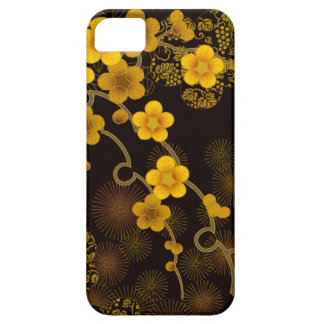 Japanese Art Golden Yellow & Deep Brown Floral iPhone 5 Cases