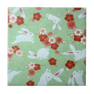Japanese Art: Green Sakuras and Rabbits Tile