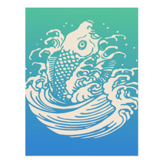 Japanese Art Koi Fish Blue Vintage Design Postcard