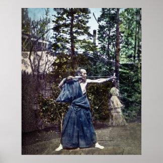 Japanese Art of Archery Samurai Vintage 弓術 Poster