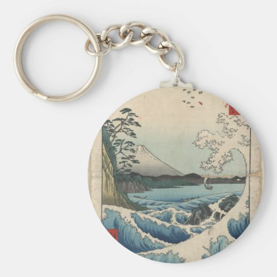 Japanese Art on Mugs, Coasters and more Basic Round Button Key Ring