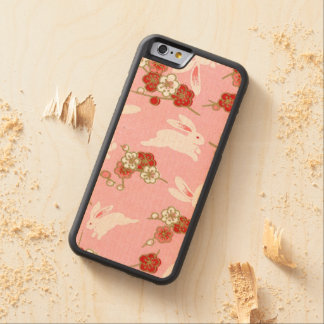 Japanese Art: Pink Sakuras & Rabbits Carved Maple iPhone 6 Bumper Case