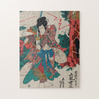 Japanese Art - Samurai With Sword In Kabuki Show Jigsaw Puzzle