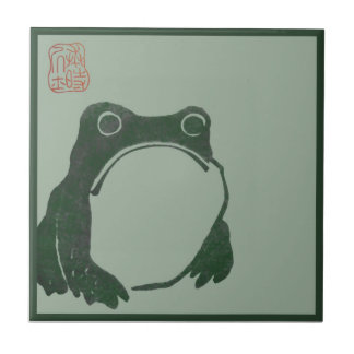 Japanese art ukiyo frog small square tile
