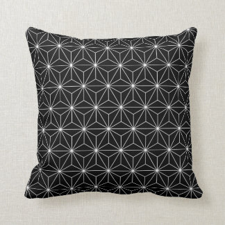 Japanese Asanoha Pattern Black Throw Pillow