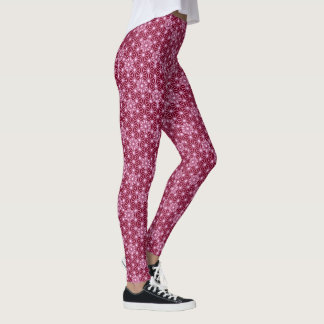 Japanese Asanoha pattern - burgundy Leggings