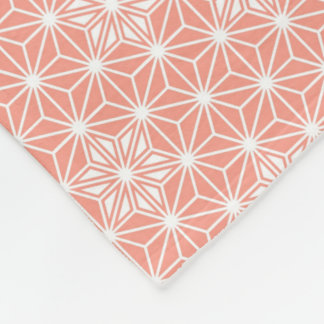 Japanese Asanoha pattern - coral pink Fleece Blanket