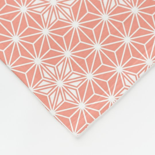 Japanese Asanoha pattern - coral pink Fleece Blanket