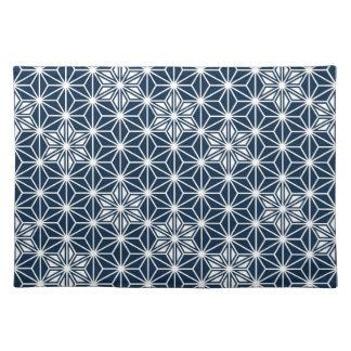 Japanese Asanoha pattern - indigo blue & white Placemat