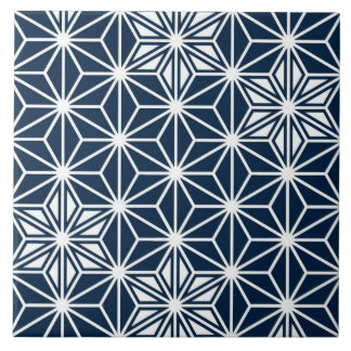 Japanese Asanoha pattern - indigo blue & white Tile