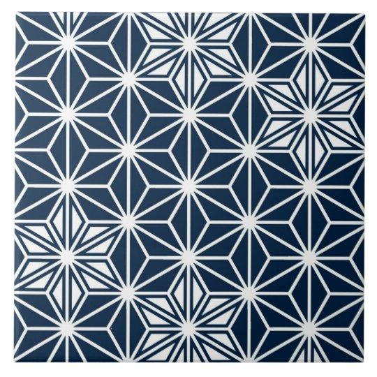 Japanese Asanoha pattern - indigo blue & white