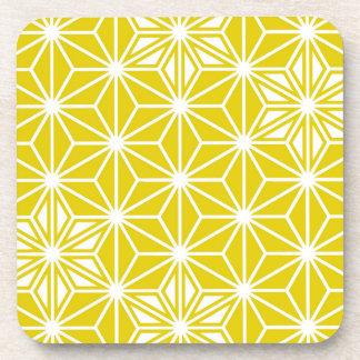 Japanese Asanoha pattern - mustard gold and white Coaster