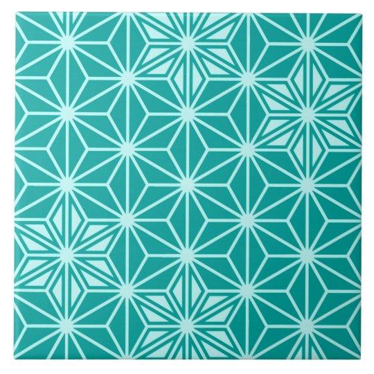 Japanese Asanoha pattern - turquoise Large Square Tile