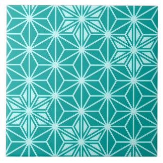 Japanese Asanoha pattern - turquoise Tile