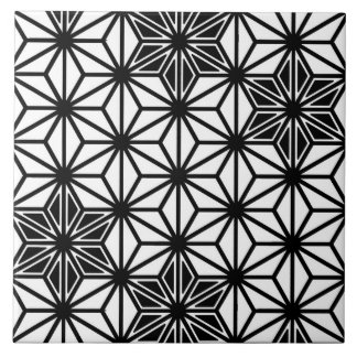 Japanese Asanoha pattern - white and black Large Square Tile