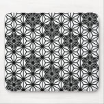 Japanese Asanoha pattern - white and black Mouse Pad