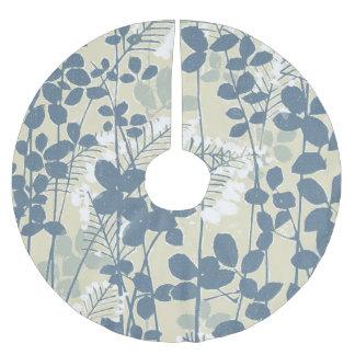 Japanese Asian Art Floral Blue Flowers Print Brushed Polyester Tree Skirt