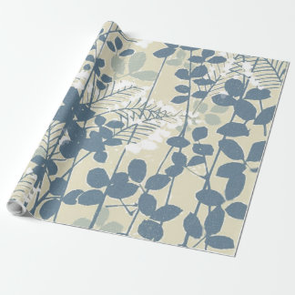 Japanese Asian Art Floral Blue Flowers Print Wrapping Paper