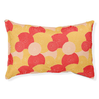 Japanese autumn circle dots kimono pet bed