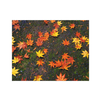 Japanese Autumn Maple Leaves Wall Canvas Print