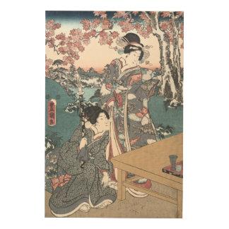 Japanese Autumn Ukiyo-e Momijigari no himegimi Wood Print