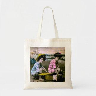 Japanese Bathing Beauties Vintage Beach Babes Budget Tote Bag