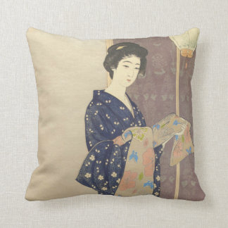 Japanese Beauty in Summer Kimono Cushion